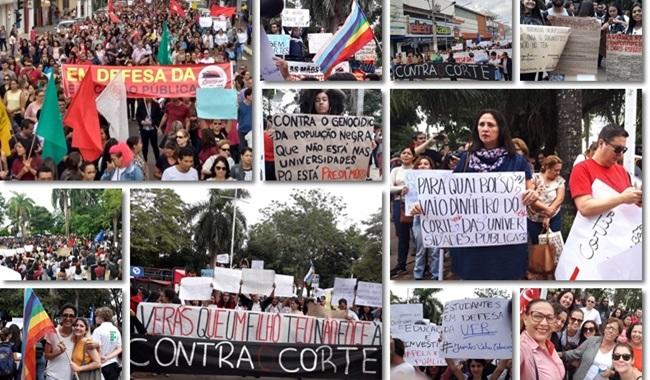antes e docentes da UFMT-ROO ocupam as ruas em protesto governo bolsonaro corte educação