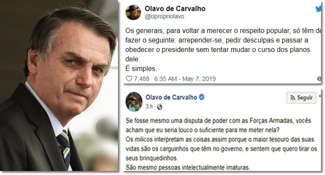 Olavo mantém ataques militares mensagem de Bolsonaro