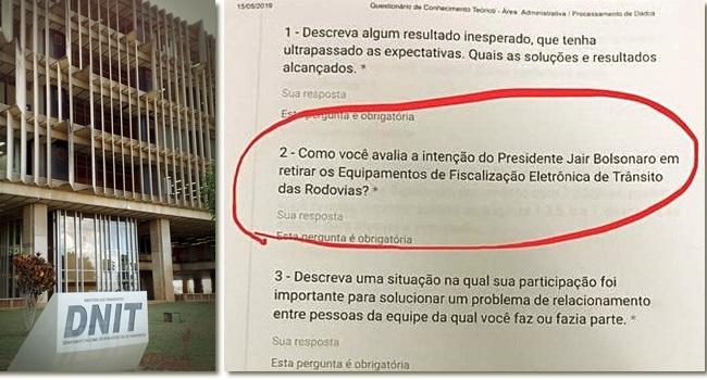 DNIT seleção ideológica trabalhadores questões Bolsonaro