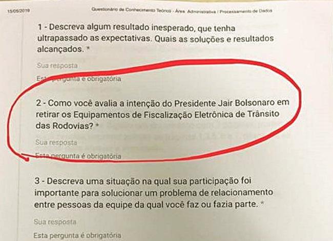 DNIT faz seleção ideológica de trabalhadores com questões sobre Bolsonaro