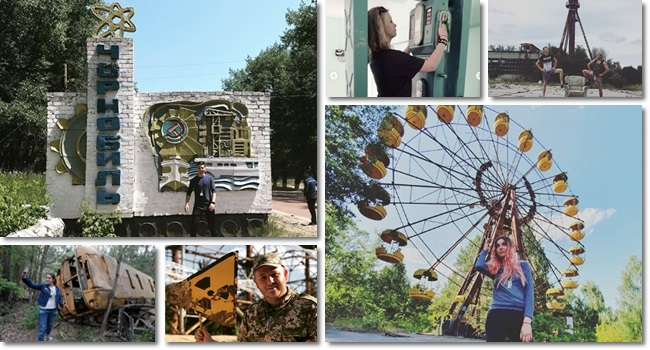 jovens posam Chernobyl busca de seguidores nas redes sociais