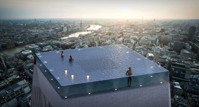 Projeto piscina infinita 360º Londres duramente criticado Infinity 360 infinity pool