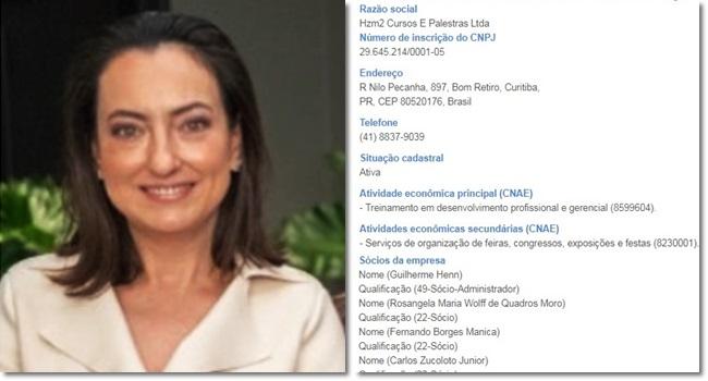 empresa de cursos e palestras da esposa de Sergio Moro Rosangela Zucolotto