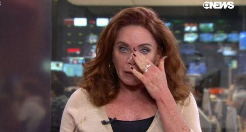 apresentadora Leilane Neubarth chora globonews