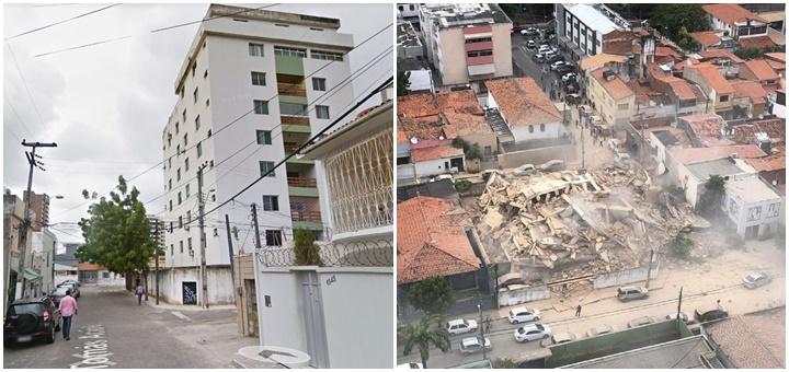 prédio desaba em Fortaleza antes depois