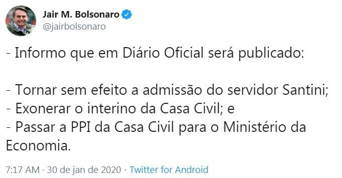 Readmitido demitido de novo Santini esposa apagam perfil Facebook governo bolsonaro