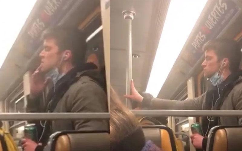 homem saliva metrô bélgica