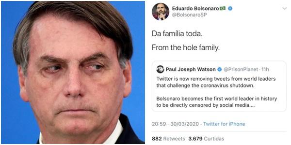 bolsonaro posts apagados coronavírus hole