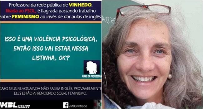 professora de inglês vinhedos perseguida feminismo mbl