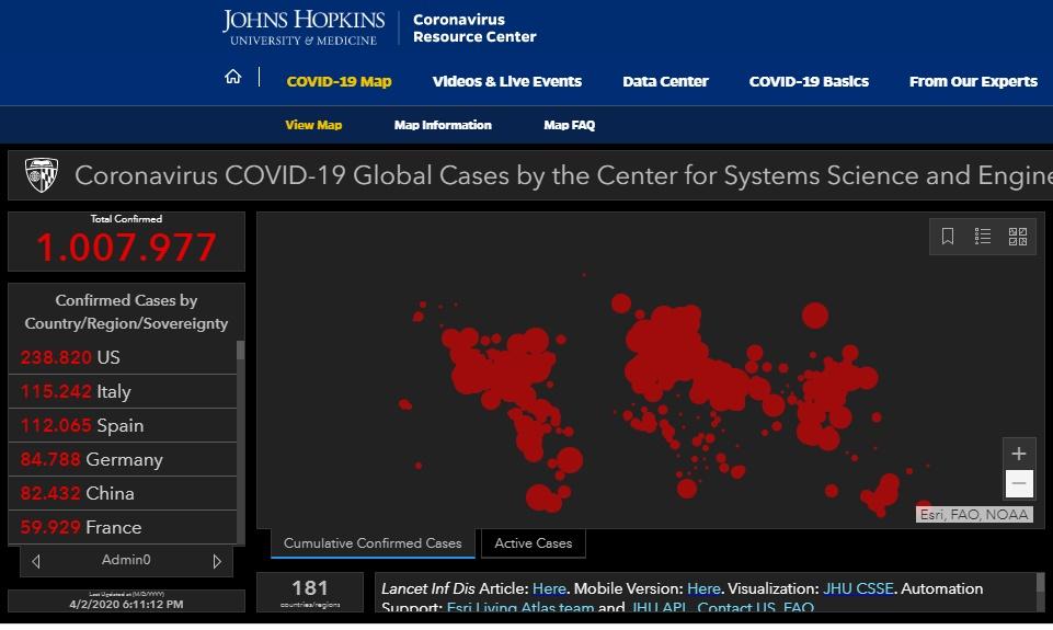 coronavírus 1 milhão casos