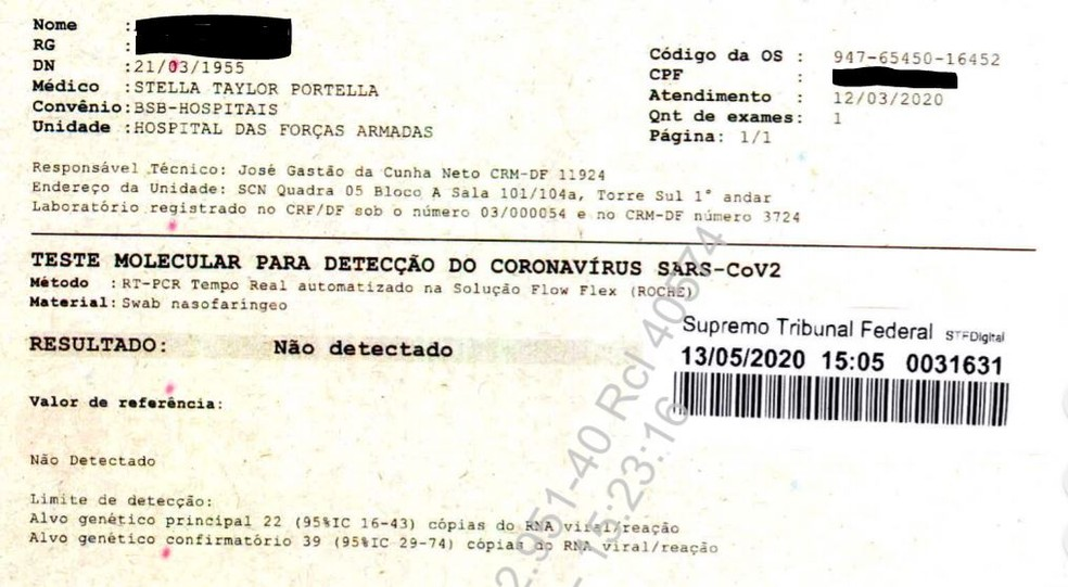 exame coronavírus bolsonaro
