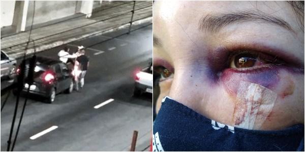 mulher agredida trânsito