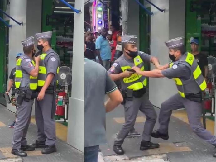 policiais brigam centro sp