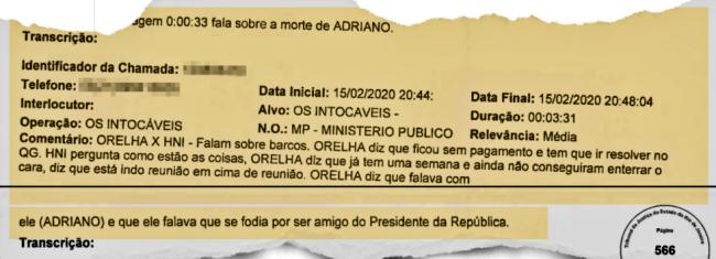 MP encerra escutas Adriano da Nóbrega se fodia amigo de Bolsonaro