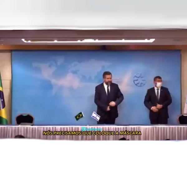Ernesto Araújo repreendido não usar máscara Israel