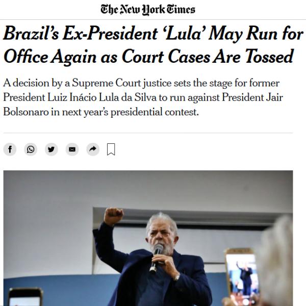 Imprensa internacional anulação condenações de Lula