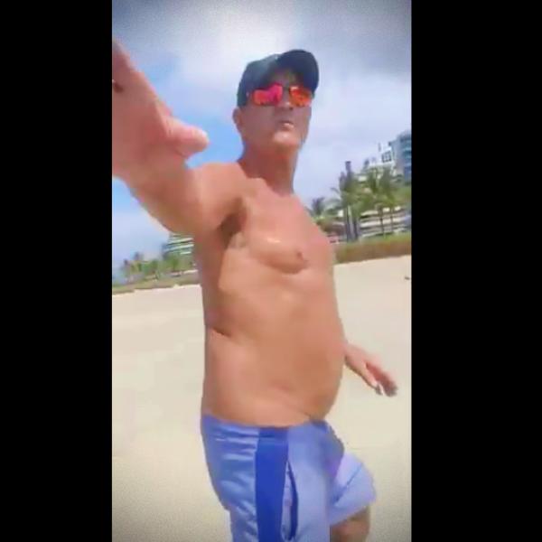 Muricy bate-boca fiscal abordado sem máscara praia