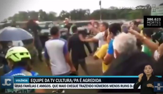 Equipe TV Cultura agredida durante reportagem Bolsonaro Pará