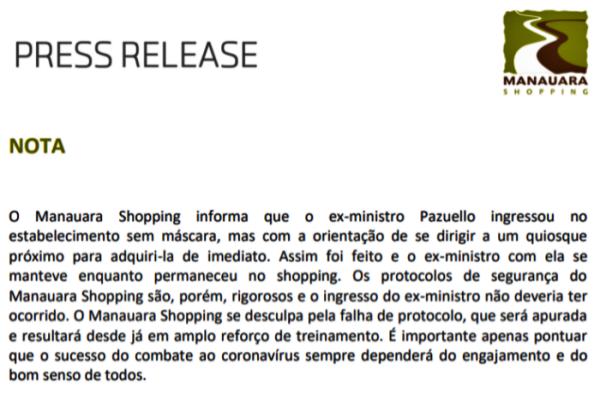 pazuello passeia shopping Manaus sem máscara debocha onde compra