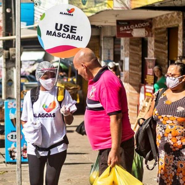 Alagoas torna obrigatório uso de máscara pandemia covid