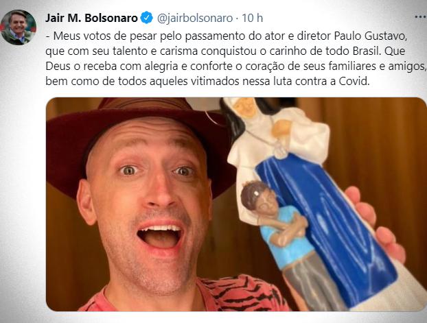 Bolsonaro divulga nota de pesar pela morte Paulo Gustavo covid genocida