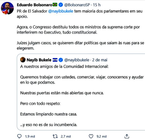 Eduardo Bolsonaro elogia golpe contra Supremo El Salvador