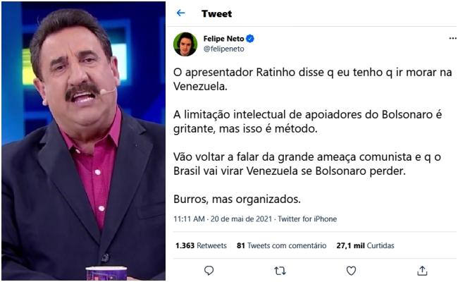 Felipe Neto rebate ataque Ratinho Limitação apoiadores Bolsonaro gritante
