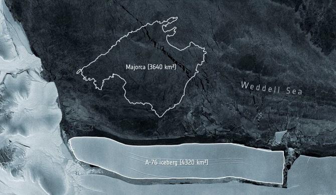 Iceberg gigante separa Antártica torna maior mundo