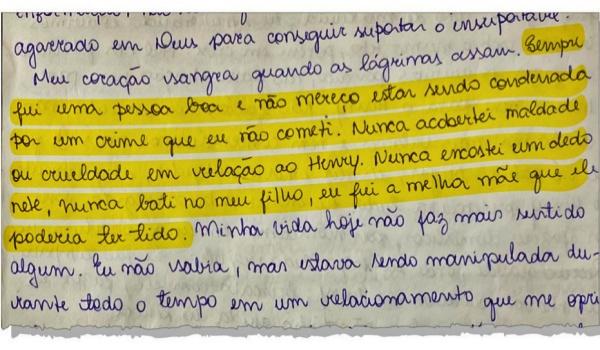 Monique Medeiros escreve cartas prisão detalha versões combinadas