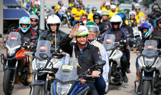 Apoiadores Bolsonaro sorteiam moto inflar passeio presidente