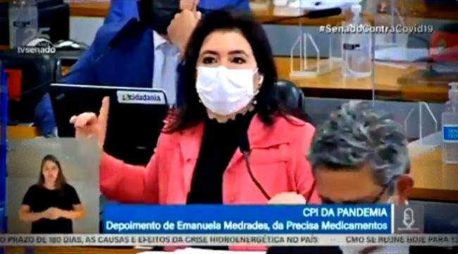 Simone Tebet enquadra Flávio Bolsonaro repita disse cpi covid