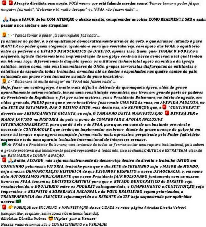 Bolsonaro convocou apoiadores necessário golpe de estado