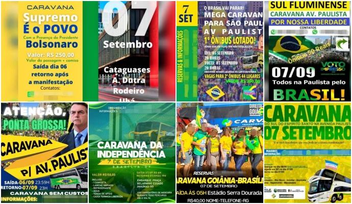Caravanas para atos pró-Bolsonaro custam DIREITA São paulo brasília stf