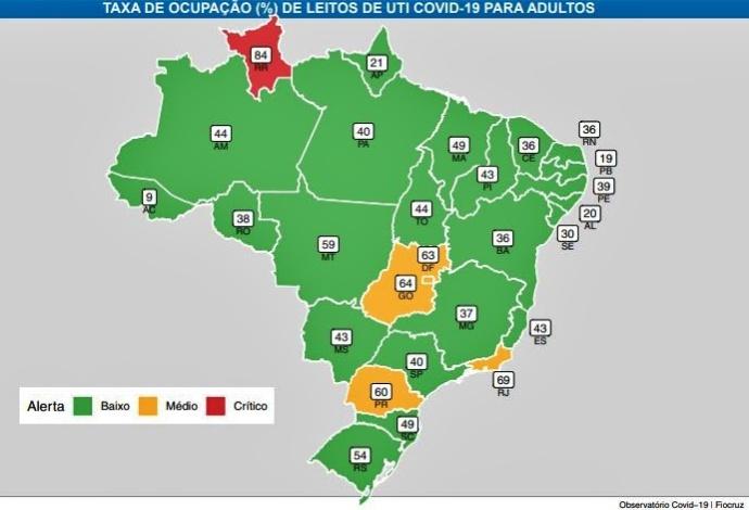Paraíba estado Brasil Nordeste menor ocupação leitos covid