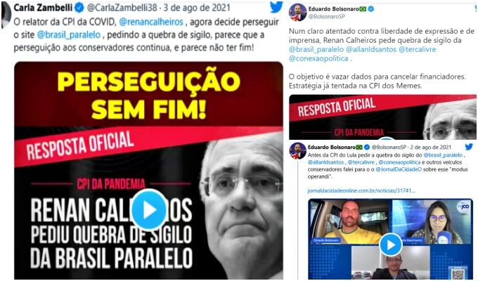 Quebra sigilo bancário Brasil Paralelo bolsonaristas desesperados