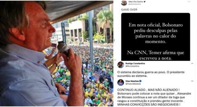 Allan dos Santos Constantino Malafaia lamentam recuo Bolsonaro