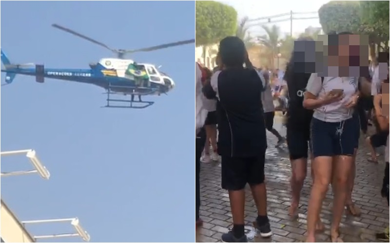 helicóptero sobrevoa escola