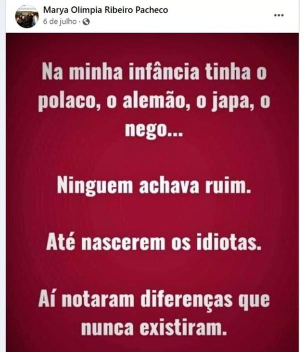 Promotora Marya Olímpia Ribeiro Pacheco publicou mensagens nazistas antivacina investigada CNMP racista
